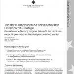 Von der europäischen zur österreichischen Bioökonomie-Strategie